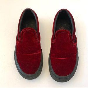 Vans Red Velvet Classic Slip On Sneaker Shoe